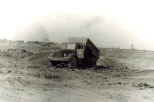 1974 г. Начало строительства автобазы №3 М.О. Мытищинский р-он, автосамосвал МАЗ-203